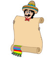 mexican man with scroll vector image