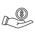 money coin hand icon outline style vector image vector image