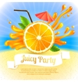 Orange juice party vector image