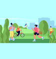 people riding in park teens on skateboard vector image