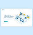 production process automation isometric landing vector image