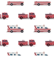seamless pattern of the fire engine and ambulance vector image vector image