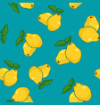 seamless pattern quince on azure background vector image vector image