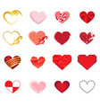 set of art hearts vector image vector image