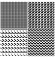 Set of swils and waves seamless patterns in black vector image vector image