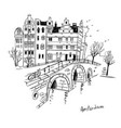 sketch amsterdam city line drawing vector image