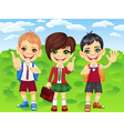 Smiling schoolchildren boys and girl vector | Price: 3 Credits (USD $3)
