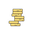 stack coins rgb color icon vector image