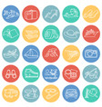 summer vacation thin line set on color circles vector image