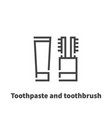 toothpaste and toothbrush icon symbol vector image