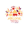 travel to maldive logo design for travel agency vector image