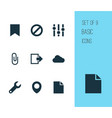 user icons set with repair attach cloud and vector image