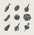 vegetables set of icons vector image vector image