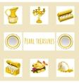 Vintage and precious treasures seven icon vector image vector image
