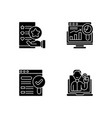web analytics and management black glyph icons vector image