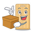 with box wooden cutting board character cartoon vector image