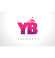 yb y b letter logo with pink purple color and vector image vector image