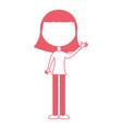 young girl waving avatar character vector image vector image