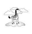 zebra cartoon in outdoor scene with clouds in vector image