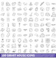 100 smart house icons set outline style vector image