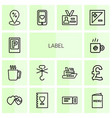 14 label icons vector image vector image