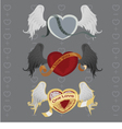 3 different hearts with wings vector image vector image