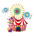 A carnival with a clown juggling vector image vector image