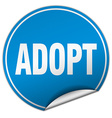 adopt round blue sticker isolated on white vector image vector image