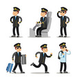 airplane pilot cartoon character set vector image vector image
