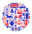 british icons set in circle vector image