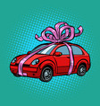 car gift transport tied with festive ribbons vector image vector image