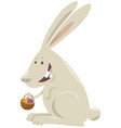 cartoon easter bunny with basket colored eggs vector image vector image