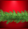 christmas holiday border with realistic fir tree vector image vector image