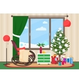 Christmas livingroom flat interior with rocking vector image vector image
