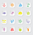 colorful flat icon set 9 rounded rectangle button vector image vector image