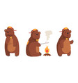 cute bear in different actions set funny cheerful vector image