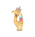 cute little giraffe in party hat with gift box vector image vector image