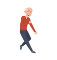 dancing senior cartoon grandfather waving hands vector image vector image