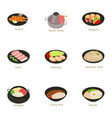 different asian food icons set cartoon style vector image