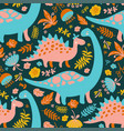 dino collage grunge prehistoric animals seamless p vector image