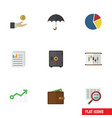 flat icon incoming set of parasol billfold vector image vector image