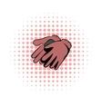 Garden gloves comics icon vector image vector image