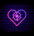 glowing neon line healed broken heart or divorce vector image vector image