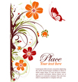 grunge floral frame with butterfly vector image vector image