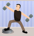 home dumbbell training concept background cartoon vector image vector image