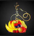 hookah gold with fruit vector image vector image