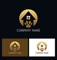 house pet dog gold logo vector image vector image