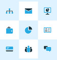 job icons colored set with network talk analytic vector image vector image