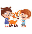 kids with fox vector image