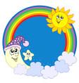 moon sun star in rainbow circle vector image vector image